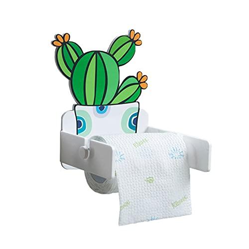 LIU- Soporte De Papel Higiénico Acrílico Autoadhesivo Forma En Maceta De Cactus Verde para Decoración De Baño De Cocina Y Baño(Size:pequeña)