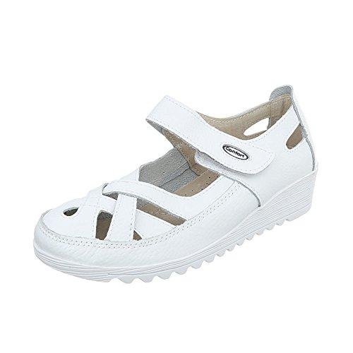 Ital-Design Schnür- & Riemchenpumps Leder Damen-Schuhe Keilabsatz/Wedge Keilabsatz Klettverschluss Pumps Weiß, Gr 38, 9003-