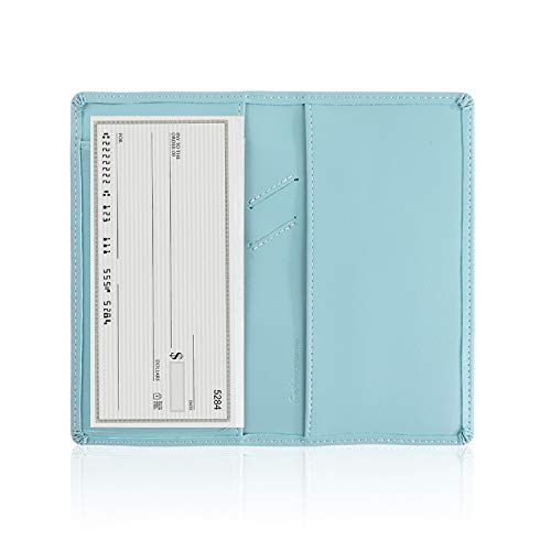 Leather Checkbook Cover with Pen Holder and Built-in Divider Basic Checkbook Holder Case for Men&Women