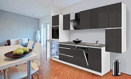 respekta Premium grifflose Küchenzeile Küche 330 cm Weiss grau Hochglanz inkl. Induktionskochfeld
