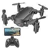 UPANV Drone Pliant, quadricoptère de Drone Volant à Haute Altitude avec Enregistrement vidéo en Temps réel à Double caméra Haute définition et positionnement par Satellite GPS,Noir