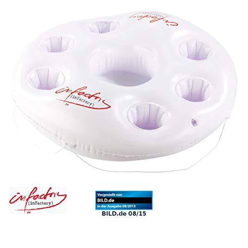 infactory Poolbar aufblasbar: Aufblasbarer Getränkehalter im Rettungsring-Design, 7 Halter, Ø 14,5cm (Pool Getränkehalter)