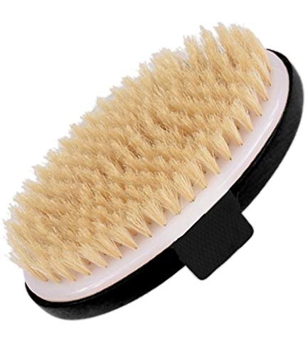 Exfoliating Brush Dry Brush For Wet or Dry Brushing, Body Brush With Natural Bristle For Glowing SKin, Cellulite Treatment, Lymphatic Drainage and Blood Circulation (Oval-Black Wood)