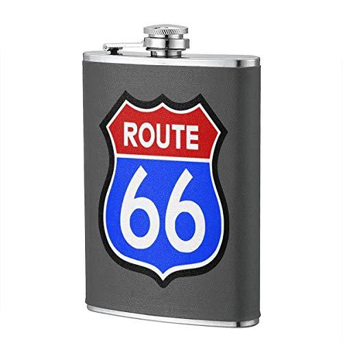 Route 66 Stainl - Petaca de acero inoxidable (8 onzas)