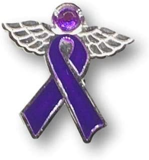 1 Purple Awareness Ribbon Angel Pin - 1 inch by 1 inch. 100% Lead and Nickel Free - Support Pancreatic, Thyroid, Testicular Cancer, Alzheimer's, Crohn's Disease, Colitis, Cystic Fibrosis, Lupus, Fibromyalgia, Domestic Violence, Add