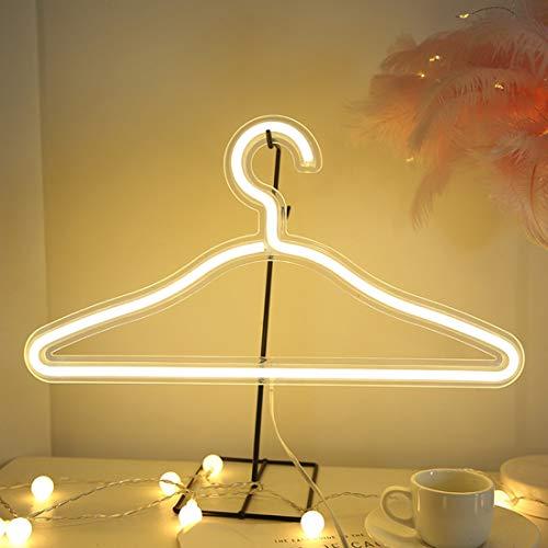 FEZBD LED Neon Light Segno Vestiti Stand USB Hanger Hanger Hanger Night Lampada per Camera da Letto Home Abbigliamento da Sposa Negozio di Abbigliamento Art Decorazioni Natalizie Regalo di Natale,A