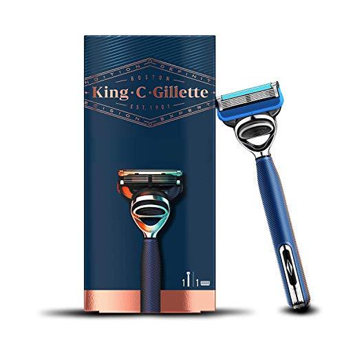 King C. Gillette Rasierer Herren mit Trimmerklinge für Präzision, Bartrasierer + 1 Rasierklinge, Marineblau