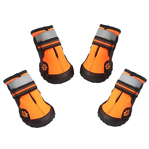ASMPET Dog Booties for Winter, Hardwood Floor Waterproof Dog Boots, Cold Weather Fleece Dog Boots with Adjustable Straps, 4PCS Orange 06…
