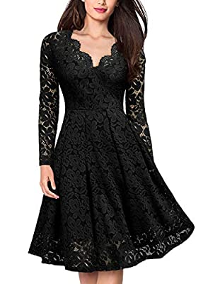 MISSMAY Women's Vintage Floral Lace V-Neck Cocktail Formal Swing Dress, Medium, Black