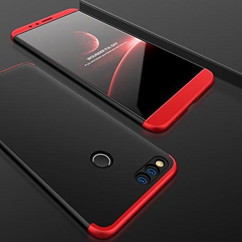 SOCINY Funda Huawei Honor 7X,Grados de Cobertura de Cuerpo Completo Protección Combinación de PC Anti-Scratch Ultrafina Funda antichoque con Todo Incluido Funda-Negro+Rojo