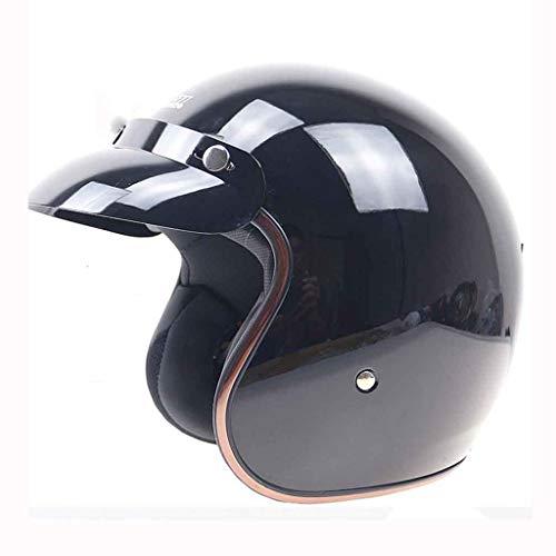 FLY® Casque De Moto, Casque De Demi-casque - Lentille Intégrée, Léger, Chaud Et Respirant (Couleur : Black-B-L)