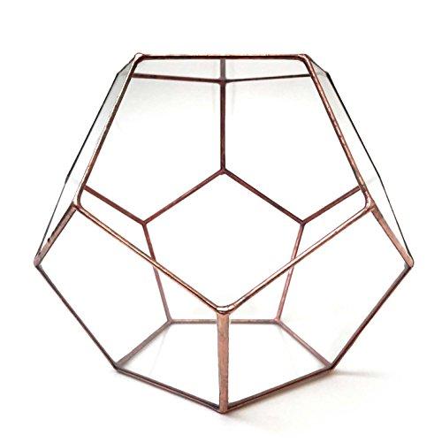 Terrarium/Pot de fleurs Géométrique en Verre/Pot de Fleurs Moderne Dodécahédrique/Fait à la Main en Angleterre Mega Cuivre clair