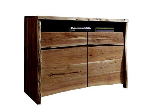 SAM Sideboard Nils I, Akazienholz massiv & nussbaumfarben, Kommode mit je 2 Schubladen & Türen sowie einem offenen Fach, echte Baumkante, 131 x 96 x 45 cm