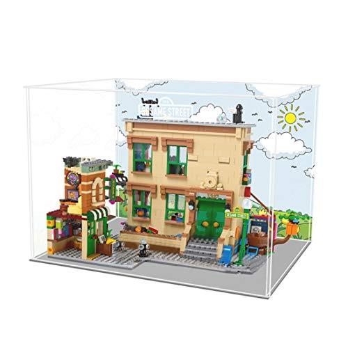 Gettesy Vitrina de acrílico compatible con Lego 21324 123 Sesame Street, resistente al polvo, sin kit de modelo