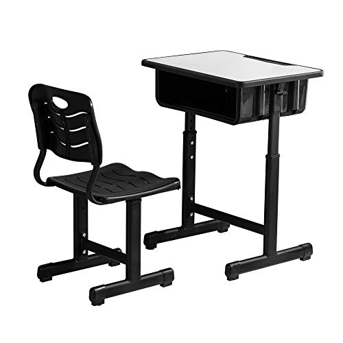 ShowMaven Student Desk and Chair Combo, Height Adjustable Children's Desk and Chair Workstation with Drawer, Pencil Grooves and Hanging Hooks for Home, School and Training (Black&White)