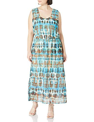 Samoon Sukienka damska z wzorem w kwadrat w talii, sukienka koktajlowa, sukienka z etui, sukienka z dżerseju, sukienka, elegancka, sukienka na czas wolny, duże rozmiary, Mocca Brown wzór, 52 PL