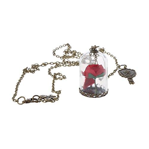 Lamdoo Mujeres románticas Flores secas Cristal Bronce Cadena Larga Belleza y Collares de Bestia