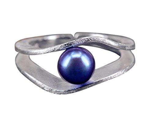 NicoWerk Silberring Perle Schwarz Wellen Süßwasserperle Ring Silber 925 Verstellbar Damenringe Damen Schmuck SRI231