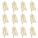Chevalet de Table (Lot de 12) - Bois de Pin Chevalet Trépied A-Cadre (29.5 x 16.5cm) avec Réglable Cordon - Mini Easel pour Les Enfants Dessin, Présentation, Peinture Classe, Exposition, Événement