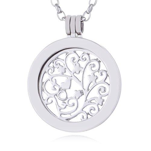 Morella Mujeres Collar 70 cm Acero Inoxidable con Amuleto y Colgante Coin 33 mm Flores de Primavera Plateado en Bolsa de la joyería