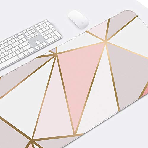 """ZYCCW Large Gaming XXL Mouse Pad with Stitched Edge 31.5""""x11.8""""x0.15"""" Rose Gold Marble Mouse Mat Customized Extended Gaming Mouse Pad Anti-Slip Rubber Base Ergonomic Mouse Pad (Rose Gold Mouse pad) Photo #2"""