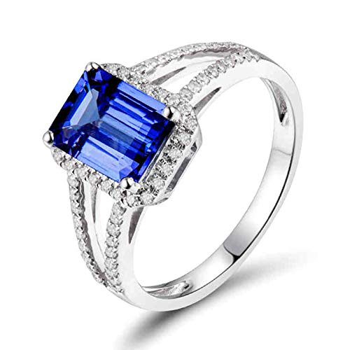 Beydodo Anillos Mujer 18K,Anillos Oro Blanco 18K Mujer Plata Azul Rectángulo Tanzanita Azul 1.7ct Diamante 0.25ct Talla 25(Circuferencia 65MM)