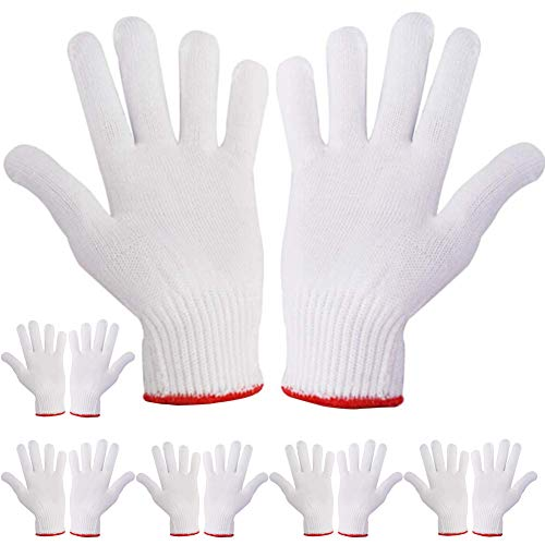 Hand Working Gloves Safety Grip Protection Work Gloves Men Women BBQ Thicker Industry Knitted Cut Repair Gloves Durable String Knit Light Weight for Work Safety Thick Cotton 6 Pairs
