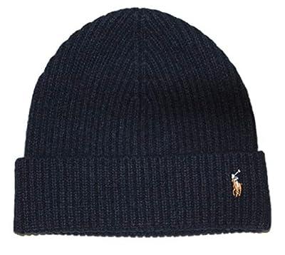 Polo Ralph Lauren Mens Pony Logo Skull Cap Beanie Hat (One Size, Hunter Navy)
