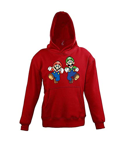 TRVPPY Kinder Hoodie Kapuzenpullover Modell Mario Luigi, Gr. 10 Jahre (130/140), Rot