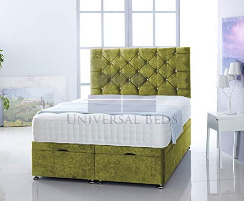 Universal Beds SOFT VELVET OTTOMAN FOOT LIFT STORAGE DIVAN BED BASE WITH 1000 POCKET MEMORY MATTRESS | FREE 26' HEADBOARD!!!! (5.0FT - King Size, Soft Velvet Olive)