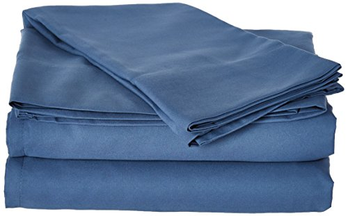 First At Home Venezia Ultra Soft 100% Microfiber Solid Color Sheet Set, Twin, Blue
