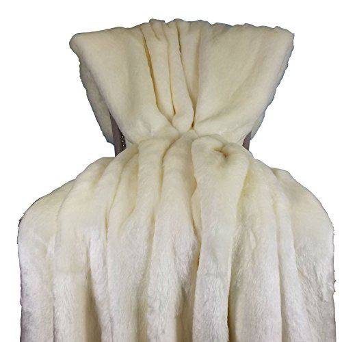 Fantastic Prices! Thomas Collection White Tissavel Mink Faux Fur Throw Blanket & Bedspread - White M...