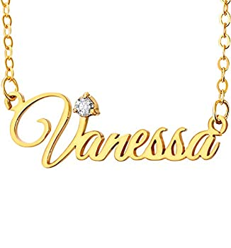 KissYan Custom Name Necklace Personalized 18K Gold Plated Nameplate Necklace Gift for Women Girl Birthstone-A T