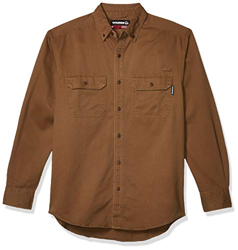 Wolverine Men's Fletcher Soft and Rugged Twill Long Sleeve Shirt, Chestnut, 2X-Large