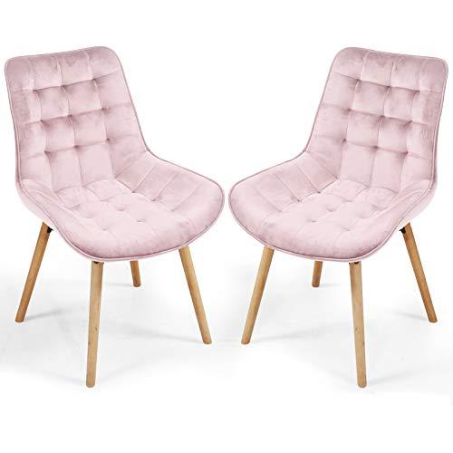 MIADOMODO Esszimmerstühle - Farbwahl, 2/4/6/8 Set, Sitzfläche aus Samt, gepolstert, gesteppt, Beine aus Buchenholz, mit Rückenlehne - Vintage Küchenstuhl, Retrostuhl, Wohnzimmerstuhl (2er Set, Rosa)
