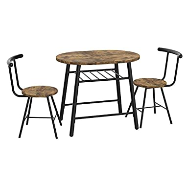 IRONCK 3 Piece Dining Set Table and 2 Chairs, Small Kitchen Table Set, Bistro Table Set, Pub Breakfast Table for Apartment and Kitchen, Space Saving, Widely Usage, Industrial Style