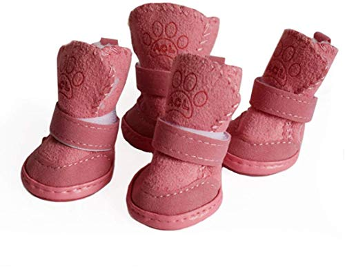 Dog Shoes Puppy Boots Snow Boots Paw Protector, Anti-Slip Dog Shoes,Dog Australia Boots Pet Antiskid Shoes Winter Warm Skidproof Sneakers (XS, Pink)