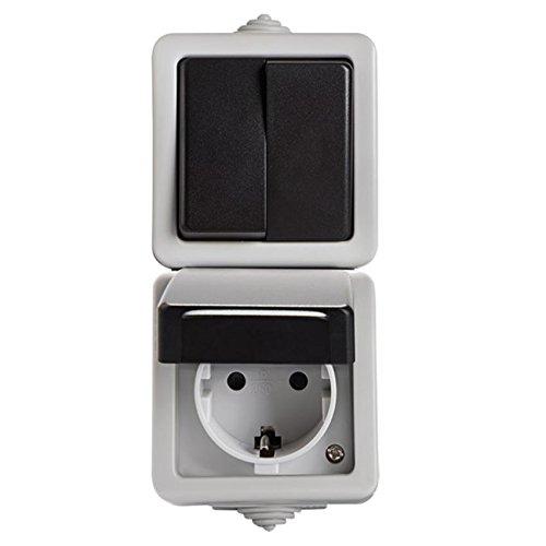 Enchufe y Interruptor Combinación Aufputz Combinación 2compartimento universal de interruptor (apagado y cambio Interruptor) 10A/Steckd lata con protección infantil 16A IP54Color Gris Tapa Negro