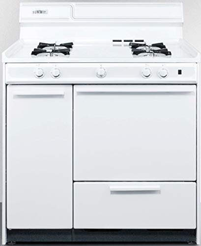 """Summit Appliance WNM4307 36"""" Wide Gas Range in White with Electronic Ignition, Side Storage Cabinet, Broiler Drawer, Broiler Tray, Recessed Oven Door"""
