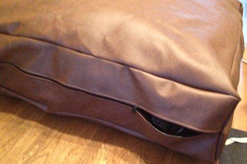 Easy clean Coussin imitation cuir imperméable, facile à nettoyer, anti-puces et anti-acariens avec intérieur amovible pour chien Marron 92 x 92 x 23 cm