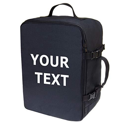 Personalizado Mochila de Equipaje de Mano Maleta de Viaje de Cabina Equipaje de Mano Aprobada para Transporte Aéreo Maleta para Todos los Vuelos Tamaño 40x30x20cm Negro con Texto [102]