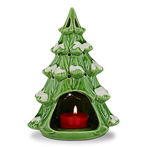STAR MOON Ceramic Tealight Candle Holder Fragrance Candle Warmer for Christmas Decoration/Aromatherapy in Home/Dorm/Office-Snow Falls in Christmas Tree