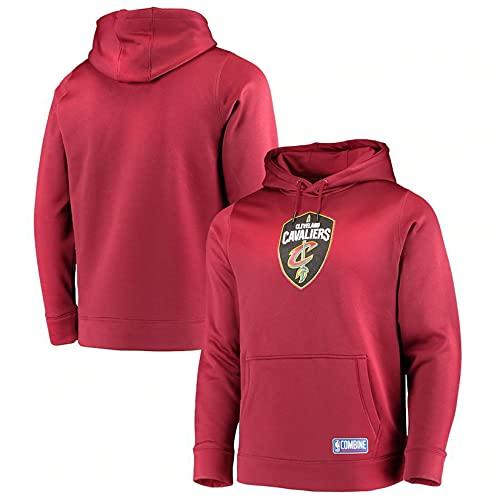 NBA Cleveland Cavaliers Hombre Fleece Hoodie Pullover Sudadera Baloncesto Sportswear,Rojo,M