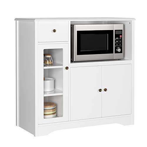 HOMECHO Mueble Auxiliar de Microondas para Cocina Alacena Aparador bajo la Cocina para Almacenamiento Blanco Marfil 90x45x82 cm