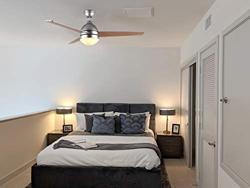 Hauslane CF2000 48 inch Modern 3 Blade Reversible Ceiling Fan with Lights and Remote | Bright LED Lamp Suitable for 175 Sq Ft Room, Silver Finish