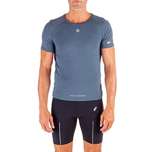 Mico Technsch T-shirt ronde hals, halve mouwen, Italiaanse stof 360 ° Glow Ritmo van Brugnoli®, fris en zacht, naadloze technologie, voor heren, in donkerblauw/oranje kleur