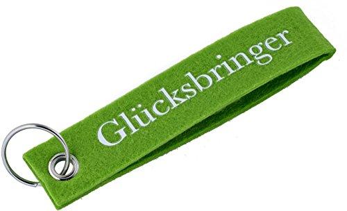 ittle-presents - Llavero de fieltro, diseño con texto en alemán que significa talismán, color verde