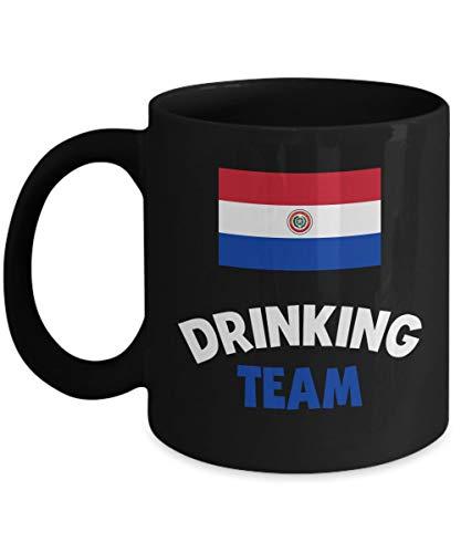 N\A Taza del Equipo para Beber de Paraguay, Soporte de café acrílico, Negro, 11 oz, Bebedor de Licor de Vino y Alcohol, Taza Divertida de los Juegos Olímpicos de Cerveza
