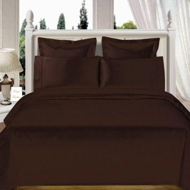 Sheets&More 4pièces de lit - 550Fils Chocolat Solide UK Petit lit Double 100% Coton égypcravaten Poche Profonde suppléHommestaire (10 ) Livraison Gratuite