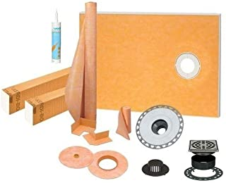 Schluter Kerdi 38 Inch x 60 Inch Offset Shower Kit with 2 Inch PVC Flange, Stainless Steel Grate and Joint Sealant